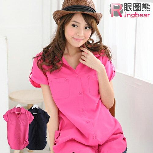 長版襯衫--優雅迷人抓皺雙口袋長版造型襯衫(粉.藍S-2L)-H99眼圈熊中大尺碼 0