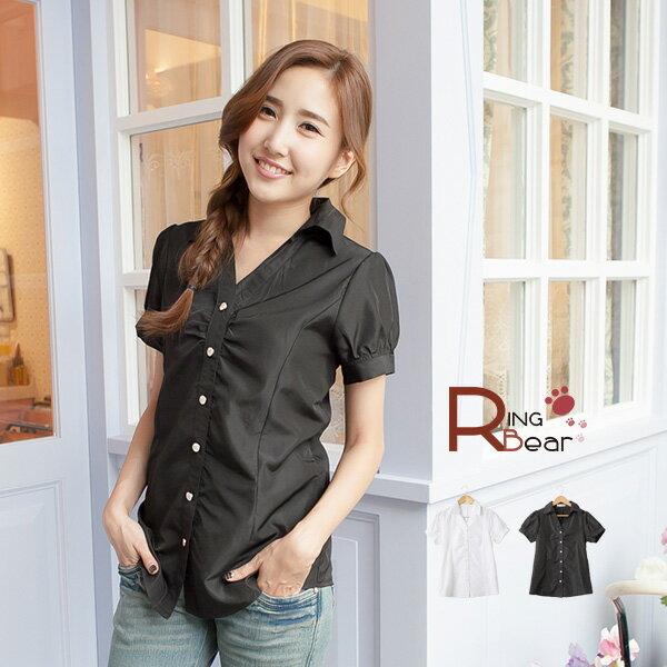 襯衫--設計感胸前抓皺Y字領設計公主袖收腰短袖襯衫(白.黑S-3L)-H142眼圈熊中大尺碼