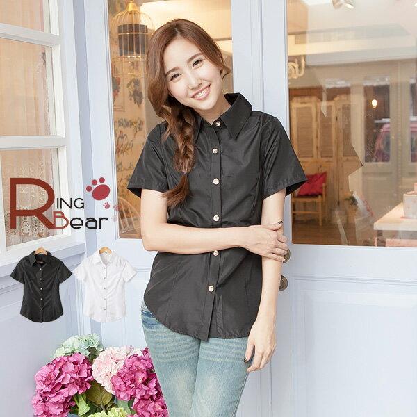 襯衫--知性女孩氣質金釦造型收腰設計短袖襯衫(白.黑S-3L)-H144眼圈熊中大尺碼 0