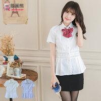 大尺碼襯衫--纖瘦清新簍空蕾絲水鑽特殊造型下擺襯衫(白.黑M-4L)-H168眼圈熊中大尺碼 0
