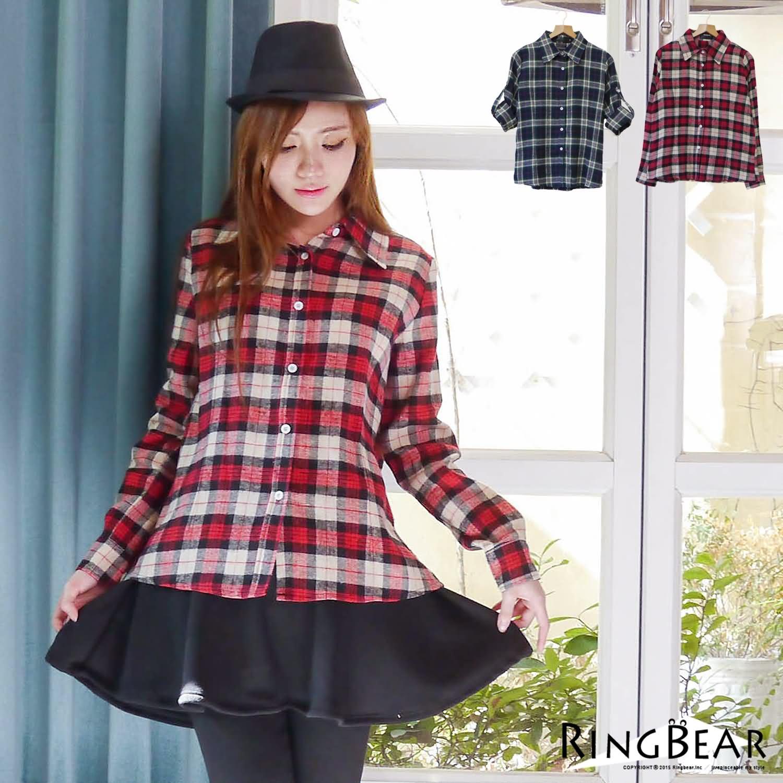 格紋襯衫--個性時尚格紋毛料袖釦設計長版襯衫(紅.藍M-2L)-I68眼圈熊中大尺碼