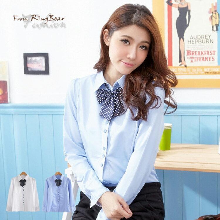 襯衫--少女情懷-圓點造型配釦附蝴蝶領結長袖襯衫(白.藍S-3L)-I73眼圈熊中大尺碼 - 限時優惠好康折扣