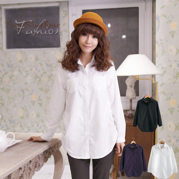 ☆眼圈熊☆I99女人的柔性美.側抓皺雙口袋造型長袖長版襯衫(黑、白、紫M-2L)