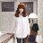 ☆眼圈熊☆I99女人的柔性美.側抓皺雙口袋造型長袖長版襯衫(黑、白、紫M-2L) 0