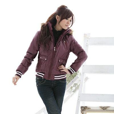 鋪棉外套--冬天的基本必備款-PU亮面連帽條紋縮口鋪棉外套(黑.紫M-2L)-J46眼圈熊中大尺碼 - 限時優惠好康折扣