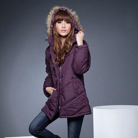 鋪綿外套--風格獨具的百搭單品-霧面毛邊連帽斜紋鋪綿長大衣(黑.紫)-J71眼圈熊中大尺碼 - 限時優惠好康折扣