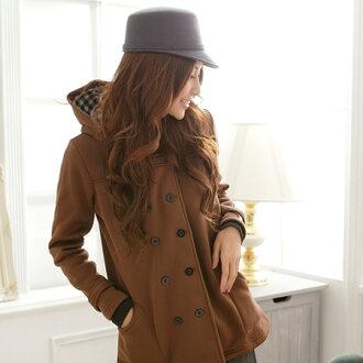 保暖外套--主角級品味雙排釦連帽素面厚刷毛短大衣(黑.紫.咖M-2L)-J78眼圈熊中大尺碼