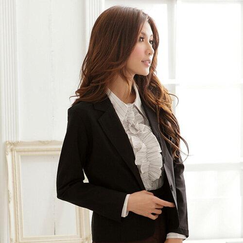 西裝外套--都會女性的自信感-基本款素面包釦雙口袋西裝外套(S-3L)-J113眼圈熊中大尺碼