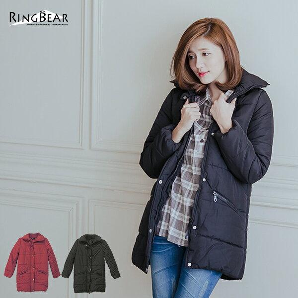 保暖外套--俐落保暖立領鋪厚棉蜜桃絨長版外套(黑.紅XL-5L)-J291眼圈熊中大尺碼