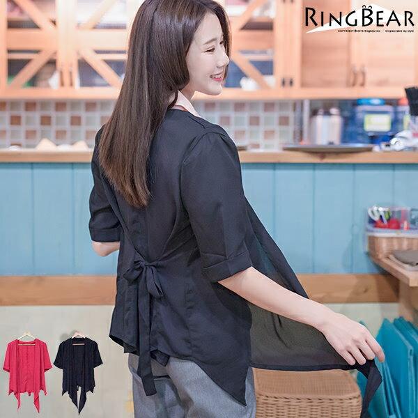 外套--簡約輕盈飄逸不規則下擺袖間立體造型雪紡外套(黑.紅XL-5L)-J295眼圈熊中大尺碼