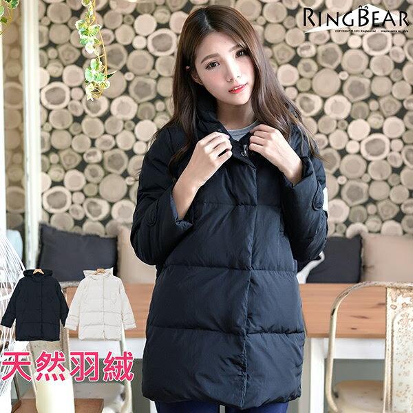 羽絨外套--俐落保暖禦寒防風立領連帽徽章雙口袋羽絨外套(白.黑L-4L)-J299眼圈熊中大尺碼 1