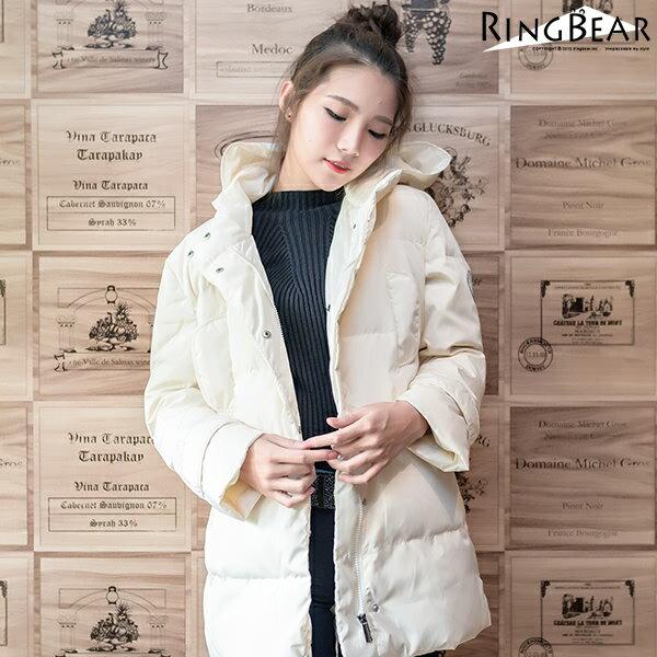 羽絨外套--俐落保暖禦寒防風立領連帽徽章雙口袋羽絨外套(白.黑L-4L)-J299眼圈熊中大尺碼 0