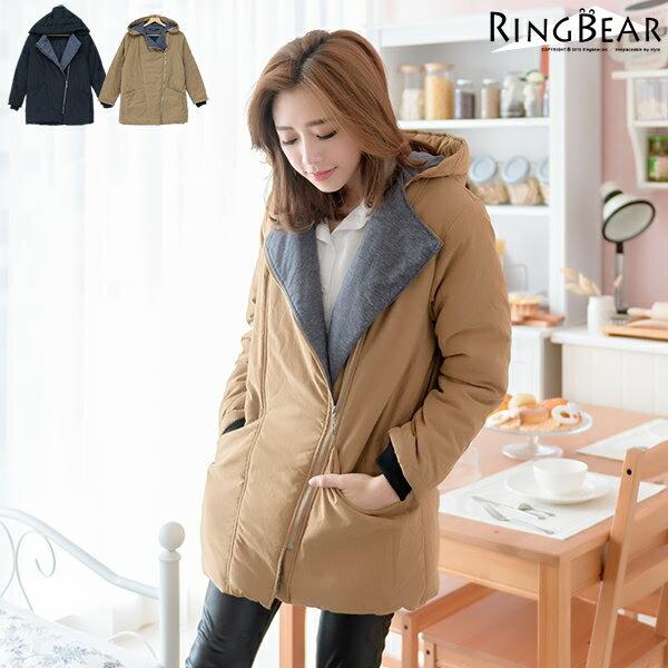 鋪棉外套--簡單保暖禦寒羅紋袖口斜拉鍊暗扣雙口袋連帽鋪棉外套(黑.卡其XL-5L)-J302眼圈熊中大尺碼 0
