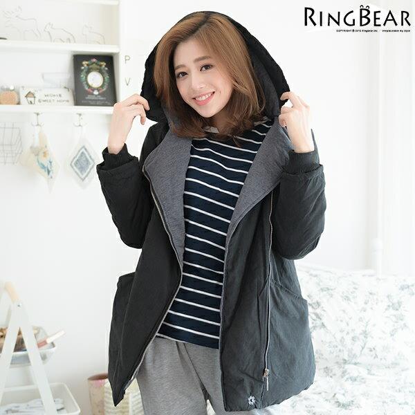 鋪棉外套--簡單保暖禦寒羅紋袖口斜拉鍊暗扣雙口袋連帽鋪棉外套(黑.卡其XL-5L)-J302眼圈熊中大尺碼 1
