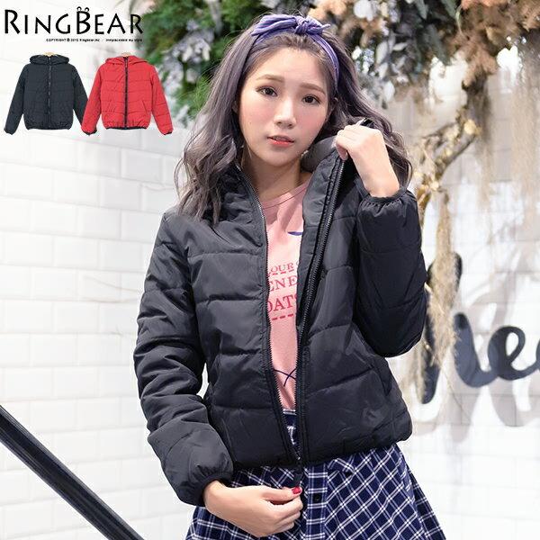 保暖外套--俐落保暖禦寒防風立領連帽雙口袋合身款鋪棉外套(黑.紅XL-5L)-J306眼圈熊中大尺碼 0