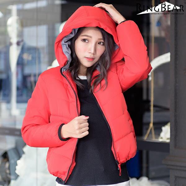 保暖外套--俐落保暖禦寒防風立領連帽雙口袋合身款鋪棉外套(黑.紅XL-5L)-J306眼圈熊中大尺碼 1