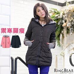 保暖外套--禦寒聖品保暖防風連帽羅紋袖修身長版鋪棉外套(黑.粉XL-3L)-J307眼圈熊中大尺碼