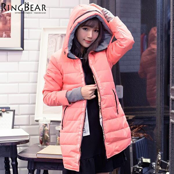 保暖外套--禦寒聖品保暖防風連帽羅紋袖修身長版鋪棉外套(黑.粉XL-3L)-J307眼圈熊中大尺碼 1