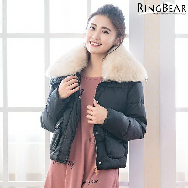 保暖外套--奢華貴氣高效暖意可拆式毛毛領排扣雙口袋羽絨棉外套(黑.粉XL-3L)-J315眼圈熊中大尺碼 1