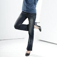 牛仔/丹寧服飾到牛仔褲--完美閃耀甜蜜感造型拉鍊鬼爪深藍刷色中腰小喇叭牛仔褲(S-7L)-N20眼圈熊中大尺碼