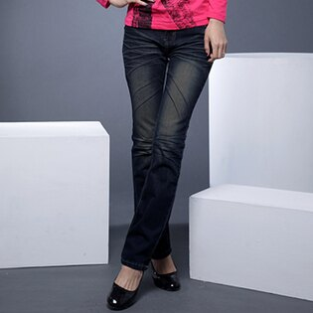 牛仔褲--纖長細直的最佳選擇-銀線金字亮片刷黃鬼爪痕中腰直筒牛仔褲(S-7L)-N25眼圈熊中大尺碼
