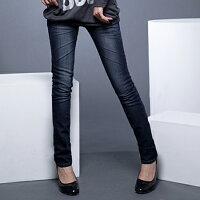 牛仔窄管褲推薦到窄管褲--完美修長細直比例刷白鬼爪痕深藍色調窄管靴型褲(S-7L)-N27眼圈熊中大尺碼就在眼圈熊S-7L大小尺碼衣褲專賣推薦牛仔窄管褲