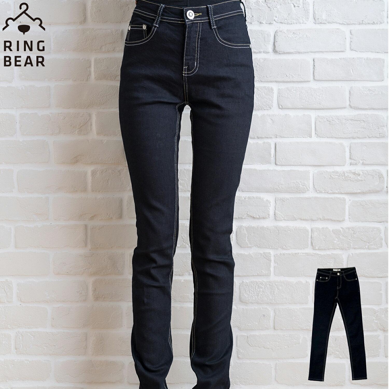顯瘦--激瘦!MODEL最愛黑色系無刷色素面中腰窄管小直筒牛仔褲(S-7L)-N46眼圈熊中大尺碼