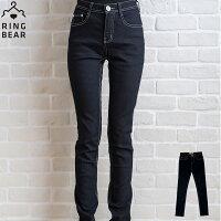牛仔/丹寧服飾到顯瘦--激瘦!MODEL最愛黑色系無刷色素面中腰窄管小直筒牛仔褲(S-7L)-N46眼圈熊中大尺碼