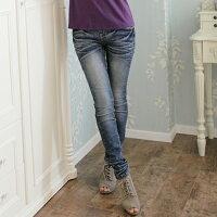 牛仔/丹寧服飾到牛仔褲--跳脫傳統框架懶人鬆緊式窄管牛仔褲(S-7L)-N53眼圈熊中大尺碼