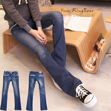 牛仔褲--打造完美細身姿態-袋口小碎花接布滾邊設計刷色中低腰小喇叭牛仔褲(S-7L)-N62眼圈熊中大尺碼 - 限時優惠好康折扣