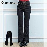 牛仔/丹寧服飾到顯瘦--再創窈窕細身曲線-復古黑藍色瘦排骨中腰合身小喇叭牛仔褲(S-7L)-N88眼圈熊中大尺碼