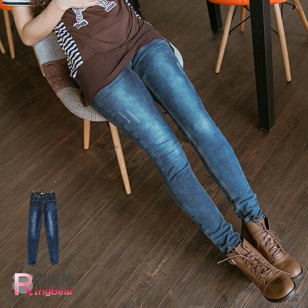 大尺碼牛仔褲--極致細長嫣藍色微刷破窄管牛仔褲(XL-7L)-N97眼圈熊中大尺碼 - 限時優惠好康折扣