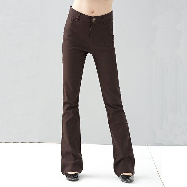 西裝褲--修長OL-超彈性中腰素面微喇叭基本款氣質長褲(黑.灰.咖S-7L)-P17眼圈熊中大尺碼 0