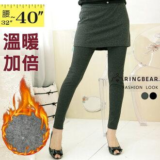 假兩件內搭褲--輕鬆運動風格保暖素面連裙內搭褲(黑.灰M-XL)-P21眼圈熊中大尺碼