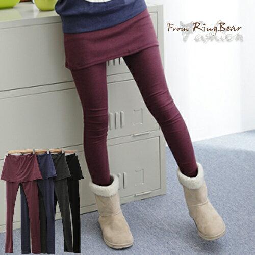 假兩件內搭褲--創造多重層次感-素面鬆緊帶假兩件內搭褲裙(黑.灰.藍.紅M-XL)-P31眼圈熊中大尺碼 0