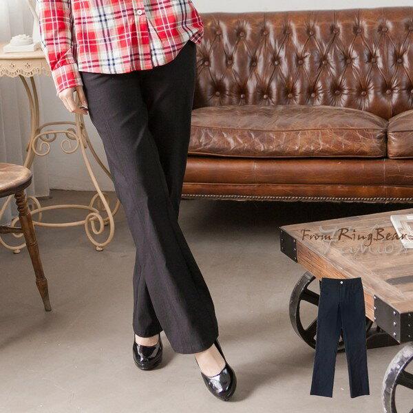 內刷毛--OL最佳首選側邊弧型車線褲頭彈性設計內刷毛西裝褲(黑M-7L)-P62眼圈熊中大尺碼