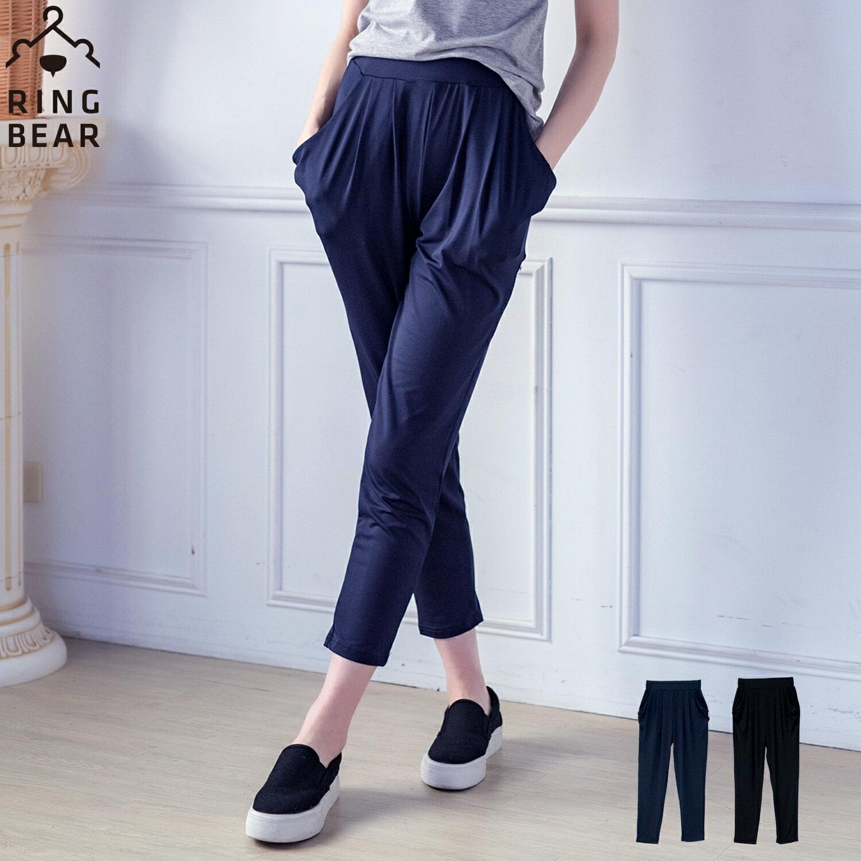 哈倫褲--絲柔涼感塑型美腿鬆緊雙口袋牛奶絲顯瘦窄管哈倫九分褲(黑.藍L-3L)-P101眼圈熊中大尺碼 0