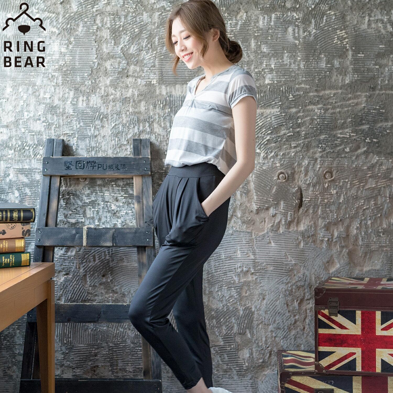 哈倫褲--絲柔涼感塑型美腿鬆緊雙口袋牛奶絲顯瘦窄管哈倫九分褲(黑.藍L-3L)-P101眼圈熊中大尺碼 1