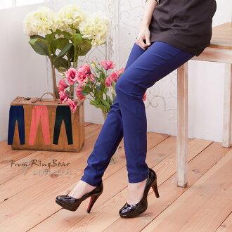 內搭褲--百搭單品鬆緊褲頭窄管設計瘦身內搭長褲(橘.黑.藍M-3L)-P102眼圈熊中大尺碼