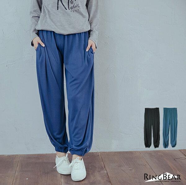 棉褲--舒適休閒寬鬆感素面鬆緊帶褲頭棉褲(黑.藍XL-4L)-P112眼圈熊中大尺碼 0