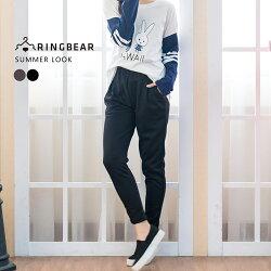 鉛筆褲--休閒時尚歐美風格鬆緊腰間裝飾車褶雙口袋純棉窄管褲/鉛筆褲(黑.灰XL-4L)-P127眼圈熊中大尺碼