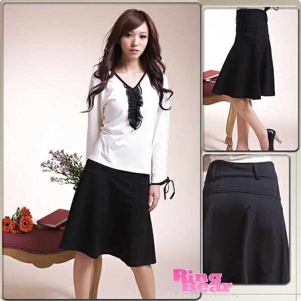 裙子--飄逸的優雅甜美-絕美韓版剪裁素面黑色八片式及膝裙(S-4L)-Q01眼圈熊中大尺碼