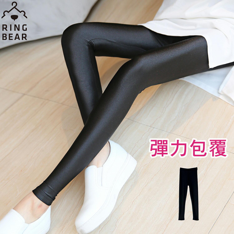 內搭褲--帥氣潮流個性休閒鬆緊腰頭超彈力絲滑薄款光澤內搭褲(黑L-3L)-R182眼圈熊中大尺碼 0