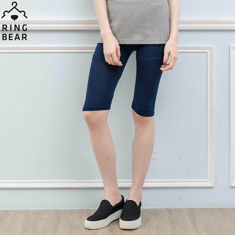 內搭褲--輕鬆零著感純色超高彈力鬆緊腰頭莫代爾棉五分內搭褲(黑.灰.藍L-3L)-R226眼圈熊中大尺碼 1