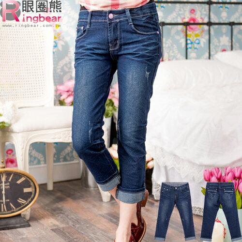 牛仔褲--蕾絲滾條繡線復古刷色魚紋九分 / 反折七八分小直筒牛仔褲(M-7L)-S74眼圈熊中大尺碼 0