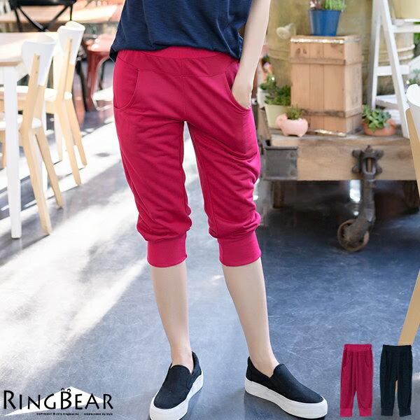 七分褲--輕鬆休閒運動女孩腰頭褲管羅紋雙口袋運動七分褲(紅.藍XL-4L)-S75眼圈熊中大尺碼