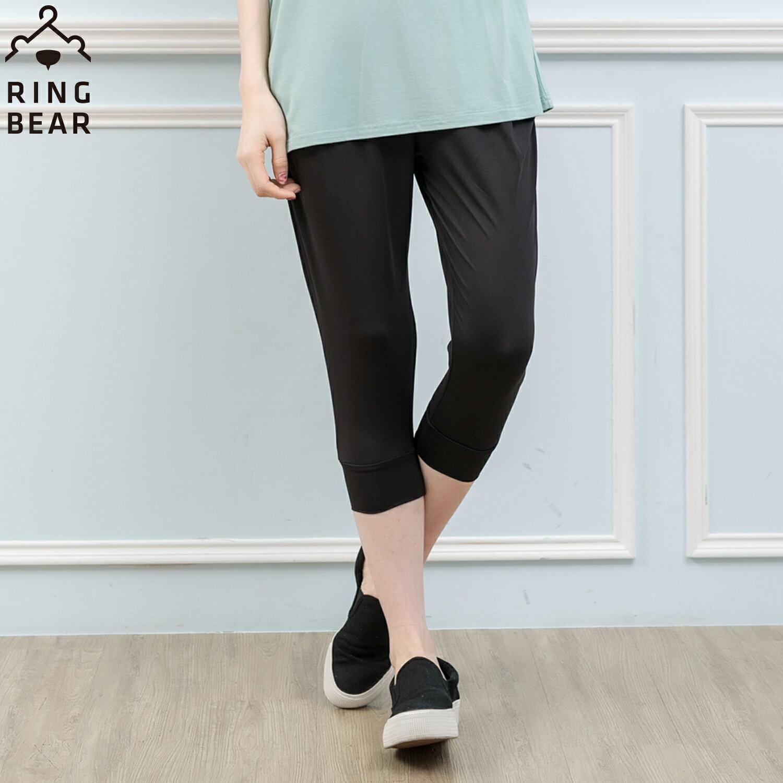 哈倫褲--百搭推薦塑型美腿鬆緊雙口袋牛奶絲顯瘦窄管哈倫七分褲(黑.灰.綠L-3L)-S101眼圈熊中大尺碼 2