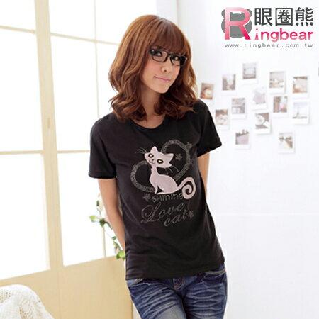 綿T--甜蜜俏皮銀蔥愛心貓咪圓領短袖綿T(黑.紅S-XL)-T88眼圈熊中大尺碼