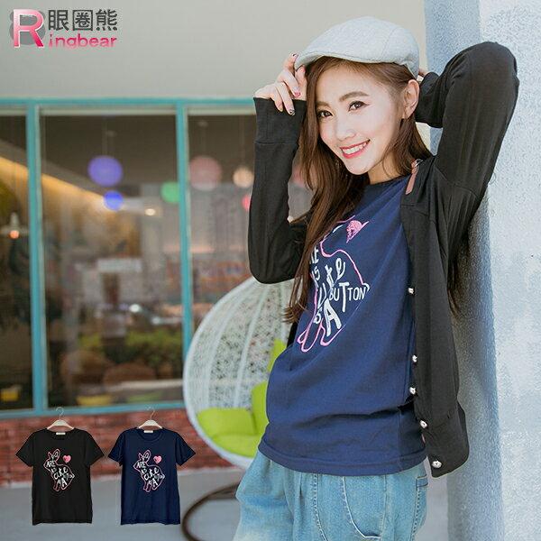 短袖T恤--復古亮眼印章感兔子印圖短袖上衣(黑.藍XL-5L)-T193眼圈熊中大尺碼