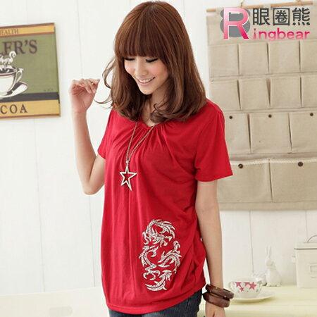 棉T--優雅中國風銀色枝葉寬版垂皺上衣(黑.灰.紅.紫S-XL)-U106眼圈熊中大尺碼
